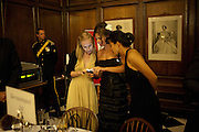 VICTORIA BAKER DULY; NADIA MARTIN; ISA MORIYAMA, Charity Dinner in aid of Caring for Courage The Royal Scots Dragoon Guards Afganistan Welfare Appeal. In the presence of the Duke of Kent. The Royal Hospital, Chaelsea. London. 20 October 2011. <br /> <br />  , -DO NOT ARCHIVE-© Copyright Photograph by Dafydd Jones. 248 Clapham Rd. London SW9 0PZ. Tel 0207 820 0771. www.dafjones.com.