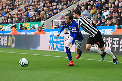 March 9, 2019 - Newcastle Upon Tyne, England, United Kingdom - Everton's Bernard contests for the ball with Newcastle United's Fabian Schar during the Premier League match between Newcastle United and Everton at St. James's Park, Newcastle on Saturday 9th March 2019. (Credit Image: © Steven Hadlow/NurPhoto via ZUMA Press)