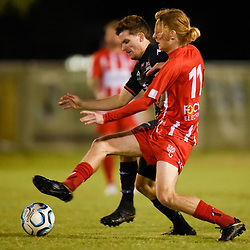 BRISBANE, AUSTRALIA - MAY 19:  during the NPL Senior Men's Round 14 match between Olympic FC and Magpies Crusaders FC on May 19, 2018 in Brisbane, Australia. (Photo by Olympic FC / Patrick Kearney)