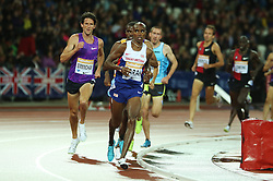 © Licensed to London News Pictures. 24/07/2015. London, UK. British long-distance and middle-distance runner Mo Farah at the 3000m in the Diamond League meet at the Olympic Stadium as part of the Sainsbury's Anniversary Games. Photo credit: LNP