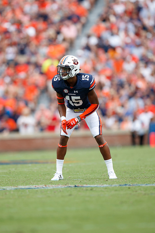 Auburn Tigers defensive back Jordyn Peters (15) during an NCAA football game against the Mississippi Rebels, Saturday, October 7, 2017, in Auburn, AL. Auburn won 44-23. (Paul Abell via Abell Images for Chick-fil-A Peach Bowl)