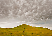Mammatus Clouds, Hill and Fence line, Carrizo Plain National Monument, California