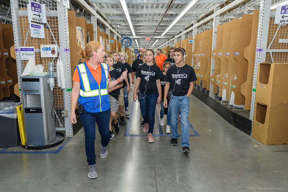 Amazon Donates New STEM Technology to Greater Clark County Schools' Vex Robotics Program Wednesday, Aug. 28, 2019, during a check presentation and tour at the Amazon Fulfillment Center in Jeffersonville, Ind. (Photo by Brian Bohannon)
