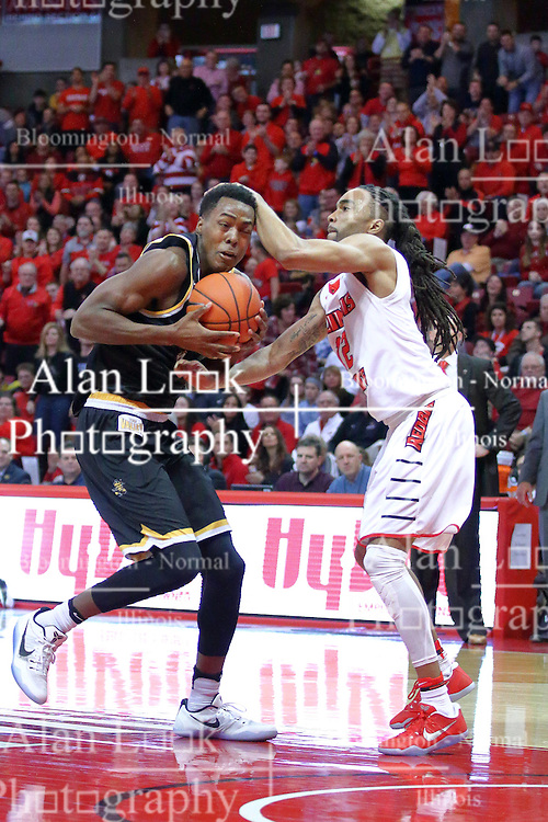 14 January 2017:  Darral Willis Jr. gets bushwhacked by Tony Wills(12) during an NCAA  MVC (Missouri Valley conference) mens basketball game between the Wichita State Shockers the Illinois State Redbirds in  Redbird Arena, Normal IL