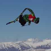 Cyrill Hunziker, Switzerland, in action in the Slopestyle Finals during The North Face Freeski Open at Snow Park, Wanaka, New Zealand, 2nd September 2011. Photo Tim Clayton...