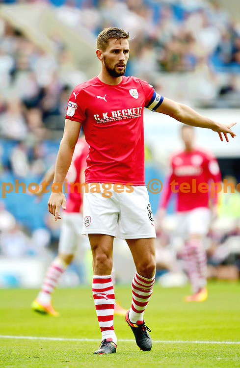 Conor Hourihane of Barnsley during the Sky Bet Championship match between Brighton and Hove Albion and Barnsley at the American Express Community Stadium in Brighton and Hove. September 24, 2016.<br /> Simon  Dack / Telephoto Images<br /> +44 7967 642437
