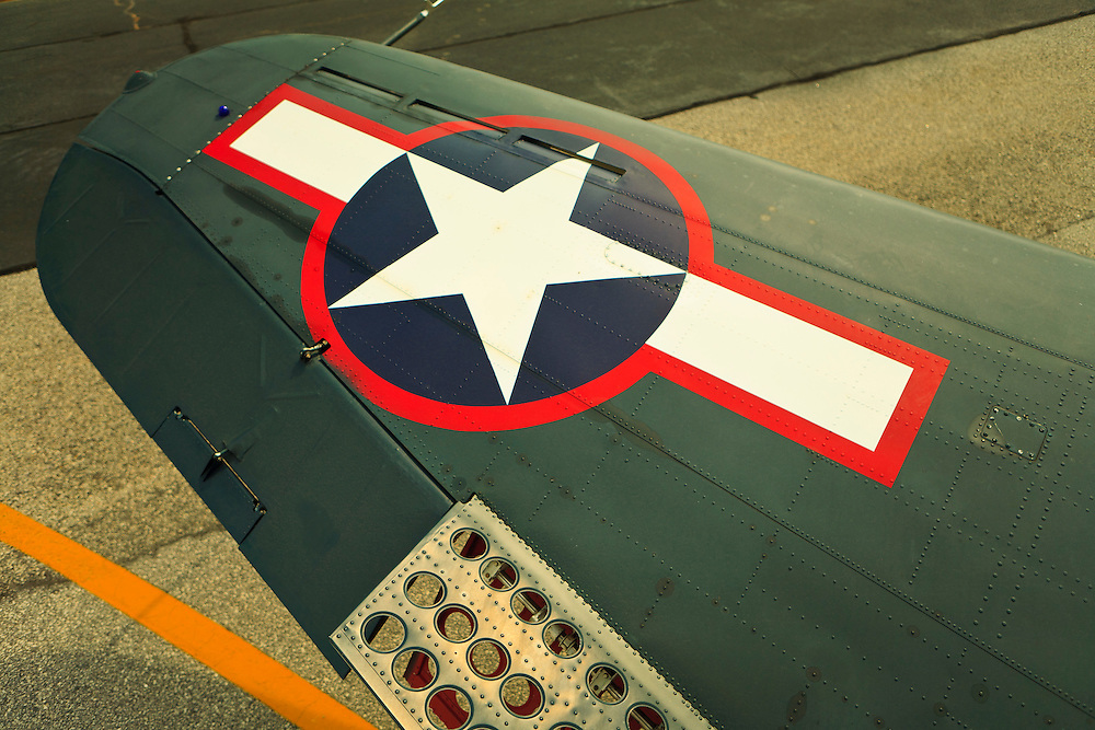 "Wing detail showing the ""speed brakes"" on an SBD-5 Dive Bomber.  Owned by the Dixie Wing of the Commemorative Air Force.  One of three still flying in the world."