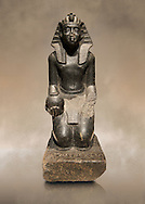 Ancient Egyptian granite statue of Sobekhotep V kneeling with ointment vessels. Egypt 13-14 Dynastie (1750-1700 BC) Berlin Neues Museum Cat No: AM 10645 .<br /> <br /> If you prefer to buy from our ALAMY PHOTO LIBRARY  Collection visit : https://www.alamy.com/portfolio/paul-williams-funkystock/ancient-egyptian-art-artefacts.html  . Type -   Neues    - into the LOWER SEARCH WITHIN GALLERY box. Refine search by adding background colour, subject etc<br /> <br /> Visit our ANCIENT WORLD PHOTO COLLECTIONS for more photos to download or buy as wall art prints https://funkystock.photoshelter.com/gallery-collection/Ancient-World-Art-Antiquities-Historic-Sites-Pictures-Images-of/C00006u26yqSkDOM