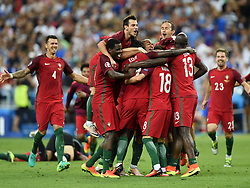 Portugal players celebrate with Eder of Portugal at the end of the game, Winning the Uefa European Championship  - Mandatory by-line: Joe Meredith/JMP - 10/07/2016 - FOOTBALL - Stade de France - Saint-Denis, France - Portugal v France - UEFA European Championship Final