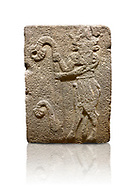 Hittite monumental relief sculpted orthostat stone panel from Water Gate Basalt, Karkamıs, (Kargamıs), Carchemish (Karkemish), 900-700 B.C. Anatolian Civilisations Museum, Ankara, Turkey. Bull-man holding the trunk of the tree. The waist-down part of the figure is in the form of a bull. <br /> <br /> On a white background. .<br />  <br /> If you prefer to buy from our ALAMY STOCK LIBRARY page at https://www.alamy.com/portfolio/paul-williams-funkystock/hittite-art-antiquities.html  - Type  Karkamıs in LOWER SEARCH WITHIN GALLERY box. Refine search by adding background colour, place, museum etc.<br /> <br /> Visit our HITTITE PHOTO COLLECTIONS for more photos to download or buy as wall art prints https://funkystock.photoshelter.com/gallery-collection/The-Hittites-Art-Artefacts-Antiquities-Historic-Sites-Pictures-Images-of/C0000NUBSMhSc3Oo