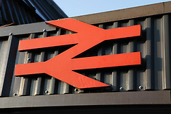 Crewe railway station sign; British Rail Logo,