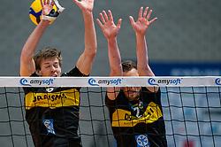 Nico Manenschijn of Dynamo, Jeroen Rauwerink of Dynamo in action during the second final league match between Amysoft Lycurgus vs. Draisma Dynamo on April 24, 2021 in Groningen.