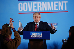 © Licensed to London News Pictures. 13/12/2019. London, UK. Prime Minister Boris Johnson speaks at a campaign event in central London after the 2019 General Election results showed a majority for the Conservative Party. The Conservatives are predicted to win the election with a majority of 64 seats. Photo credit: Peter Macdiarmid/LNP