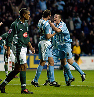 Photo: Leigh Quinnell.<br /> Coventry City v Plymouth Argyle. Coca Cola Championship.<br /> 03/12/2005. Michael Doyle helps Don Hutchinson(left) celebrate his goal for Coventry.