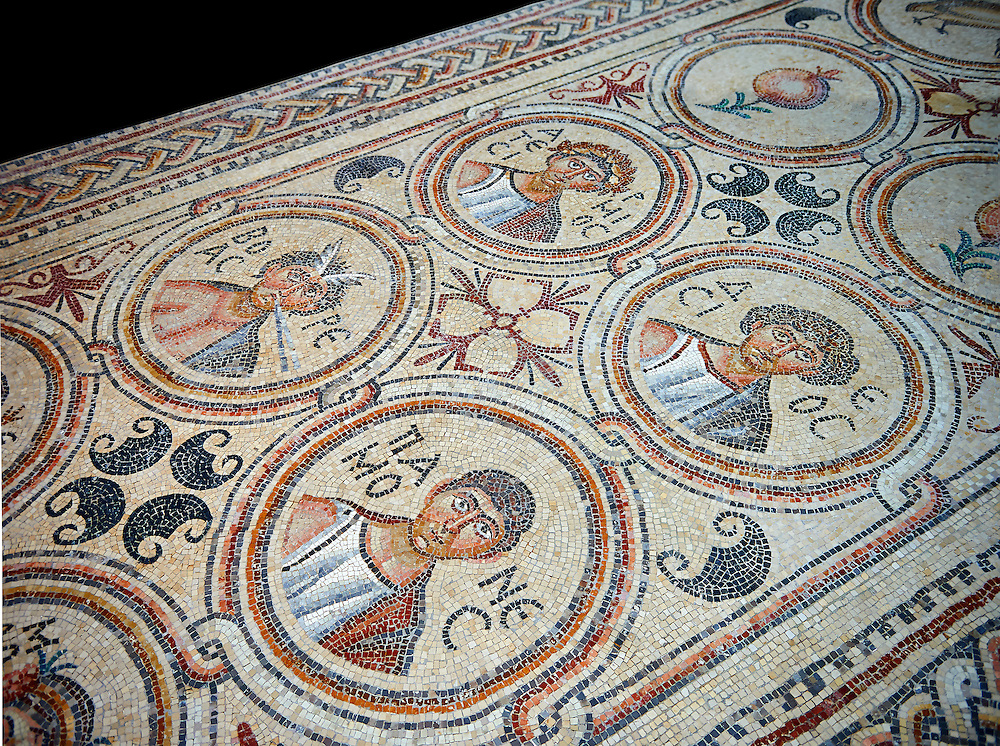 Roman Byzantine floor Mosaics of the early Christian Church of St. Christopher, Qabar Hiram, Lebanon, AD 575. Louvre Museum Paris inv 2230-2235 .<br /> <br /> If you prefer to buy from our ALAMY PHOTO LIBRARY  Collection visit : https://www.alamy.com/portfolio/paul-williams-funkystock/roman-mosaic.html - Type -   Louvre    - into the LOWER SEARCH WITHIN GALLERY box. Refine search by adding background colour, place, museum etc<br /> <br /> Visit our ROMAN MOSAIC PHOTO COLLECTIONS for more photos to download  as wall art prints https://funkystock.photoshelter.com/gallery-collection/Roman-Mosaics-Art-Pictures-Images/C0000LcfNel7FpLI .