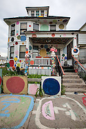 The Polk-a-dot house, part of the Heidelberg Project, a folk art instaltion taking up over two city blocks in Detroit started by artist Tyree Guyton. By March 2014, the project is all but destoryed. The Polk-a-dot house is one of two remaining structutres in the project.