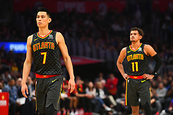 January 29, 2019 - Los Angeles, CA, U.S. - LOS ANGELES, CA - JANUARY 28: Atlanta Hawks Guard Jeremy Lin (7) and Atlanta Hawks Guard Trae Young (11) look on during a NBA game between the Atlanta Hawks and the Los Angeles Clippers on January 28, 2019 at STAPLES Center in Los Angeles, CA. (Photo by Brian Rothmuller/Icon Sportswire) (Credit Image: © Brian Rothmuller/Icon SMI via ZUMA Press)