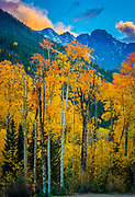 Sunset in the lush valley around the small town of Orfir in the Colorado San Juan mountains