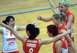 Players of Nova KBM celebrate at 1st match of finals of 1st DOL women volleyball league between OK Hit Nova Gorica and OK Nova KBM Branik, Maribor played in OS Milojke Strukelj, on April 8, 2009, in Nova Gorica, Slovenia. Nova KBM Branik won 3:1. (Photo by Vid Ponikvar / Sportida)