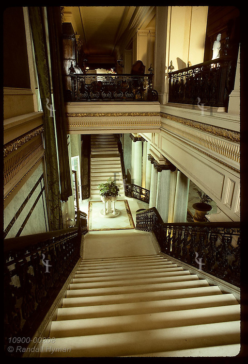 Grand stairway leads from Marble Hall to second-floor bedrooms @ the Flagler Museum; Palm Beach. Florida