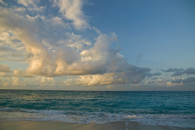 Cumulus clouds over the Indian Ocean at sunrise, Chumbe Island Coral Park, Tanzania, Africa
