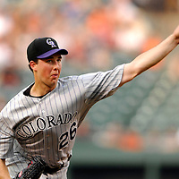 08 June 2007:  Colorado Rockies pitcher Jeff Francis (26) pitches in the 1st inning against the Baltimore Orioles. Francis went seven innings striking out 7 but took the loss for the fifth time this year as the Orioles defeated the Rockies 4-2 in interleague play at Camden Yards in Baltimore, MD.   ****For Editorial Use Only****