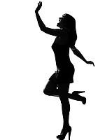 stylish silhouette caucasian beautiful woman dancing happy fun full length on studio isolated white background