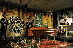 October 14, 2016 - Milan, Italy - Dario Fo burial chamber at Piccolo Theater in Milan.Dario Fo, the Italian playwright, director and performer whose satirical work earned him both praise and condemnation, as well as the 1997 Nobel Prize in Literature, died on Thursday in Milan. His death was confirmed by his Italian publisher, Chiarelettere. (Credit Image: © Gaetano Piazolla/Pacific Press via ZUMA Wire)