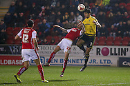 Middlesbrough defender George Friend (3)  heads the ball back across goal during the Sky Bet Championship match between Rotherham United and Middlesbrough at the New York Stadium, Rotherham, England on 8 March 2016. Photo by Simon Davies.