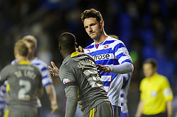 Sean Morrison (ENG) of Reading shakes hands with Jeffrey Schlupp (GHA) of Leicester City after the match finishes in a 1-1 draw - Photo mandatory by-line: Rogan Thomson/JMP - 07966 386802 - 14/04/2014 - SPORT - FOOTBALL - Madejski Stadium, Reading - Reading v Leicester City - Sky Bet Football League Championship.