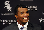 CHICAGO - DECEMBER 03:  White Sox general manager Ken Williams talks to the media during a press conference announcing the signing of free agent Adam Dunn on December 3, 2010 at U.S. Cellular Field in Chicago, Illinois.  (Photo by Ron Vesely)