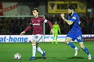 West Ham United midfielder Mark Noble (16) in action during the The FA Cup fourth round match between AFC Wimbledon and West Ham United at the Cherry Red Records Stadium, Kingston, England on 26 January 2019.