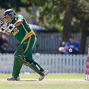 Charlize van der Westhuizen is bowled first ball by Suzie Bates  during the South Africa  V New Zealand group A match at Bradman Oval in the ICC Women's World Cup Cricket Tournament, in Bowral, Australia on March 12, 2009. New Zealand won the match by 199 runs. Photo Tim Clayton