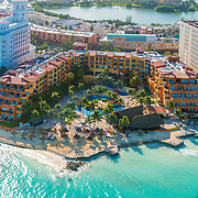 Aerial view of the Fiesta Americana Villas with the hotel zone and Nichupte lagoon in the background