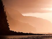 Waves at Ke'e Beach, Ha'ena State Park at dusk, Kaua?i, Hawai?i