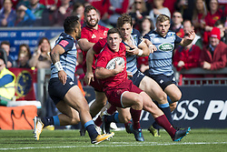 September 30, 2017 - Limerick, Ireland - Ian Keatley of Munster with the ball during the Guinness PRO14 Conference A Round 5 match between Munster Rugby and Cardiff Blues at Thomond Park in Limerick, Ireland on September 30, 2017  (Credit Image: © Andrew Surma/NurPhoto via ZUMA Press)
