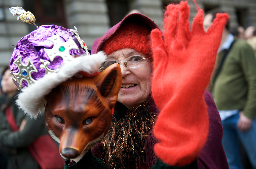 Thousands of protesters marched the streets from London Bridge to the Bank of England on the first day of the G20 Summit on April 1, 2009.  Many were decked out in garb themed by the four horses of the apocalypse.  Police lined the streets in anticipation of violence.