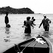 Thai fishermen using the 19th century surrounding net method, in shallow waters of a beach in Ko Phagan Island.