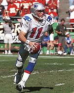 New England Patriot quarterback Drew Bledsoe during game action against the Kansas City Chiefs at Arrowhead Stadium in Kansas City, Missouri on October 10, 1999.