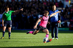 Cardiff Blues Full Back (#15) Leigh Halfpenny kicks the conversion to secure his sides lead during the second half of the match - Photo mandatory by-line: Rogan Thomson/JMP - Tel: 07966 386802 - 19/10/2013 - SPORT - RUGBY UNION - Cardiff Arms Park, Wales - Cardiff Blues v Toulon - Heineken Cup Round 2.