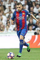 Jordi Alba of FC Barcelona during the match of La Liga between Real Madrid and Futbol Club Barcelona at Santiago Bernabeu Stadium  in Madrid, Spain. April 23, 2017. (ALTERPHOTOS)