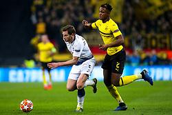 Jan Vertonghen of Tottenham Hotspur goes past Dan-Axel Zagadou of Borussia Dortmund - Mandatory by-line: Robbie Stephenson/JMP - 13/02/2019 - FOOTBALL - Wembley Stadium - London, England - Tottenham Hotspur v Borussia Dortmund - UEFA Champions League Round of 16, 1st Leg