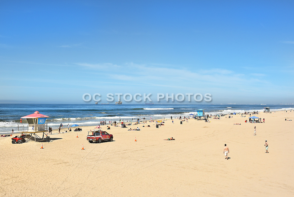Huntington Beach Shoreline and Lifeguard Towers