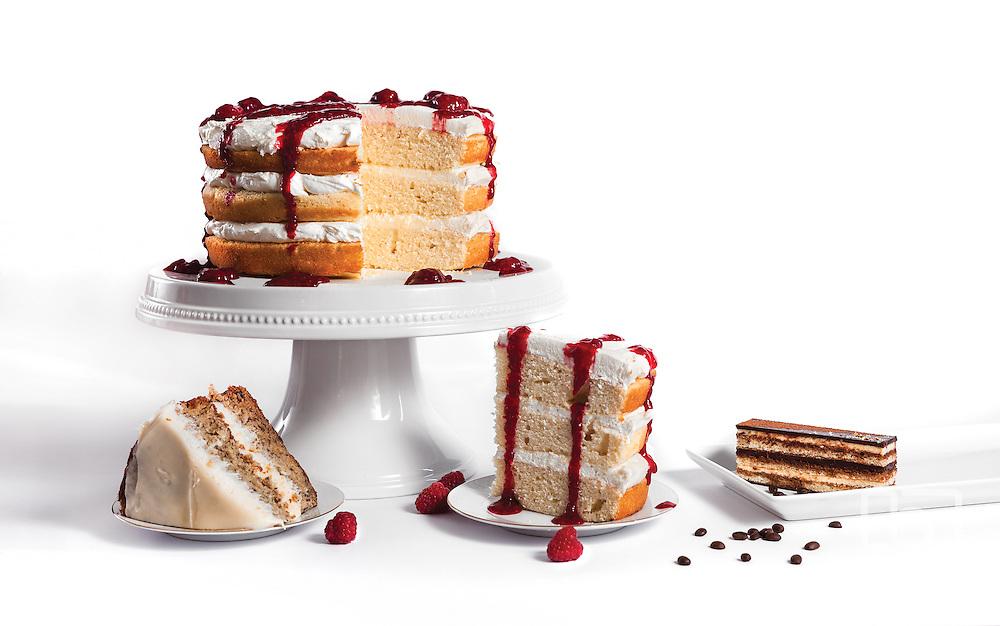 Studio shot of styled raspberry cake. Photo by Brandon Alms Photography