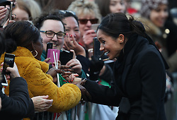 Meghan Markle on a walkabout during a visit to Cardiff Castle.