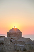 Scenic view of church against dramatic sky at sunset, Paphos, Cyprus