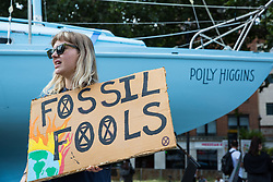 London, UK. 16 July, 2019. Climate activists from Extinction Rebellion relax and prepare for actions alongside the Polly Higgins boat outside their camp on Waterloo Millennium Green on the second day of their 'Summer uprising', a series of events intended to apply pressure on local and central government to address the climate and biodiversity crisis. Credit: Mark Kerrison/Alamy Live News
