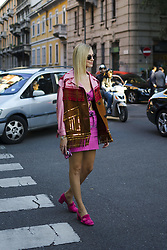 September 21, 2017 - Milan, Italy - Chiara Ferragni wearing pink skirt and top, jacket with fringes is seen outside Prada during Milan Fashion Week Spring/Summer 2018 on September 21, 2017 in Milan, Italy. (Credit Image: © Nataliya Petrova/NurPhoto via ZUMA Press)