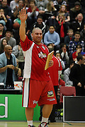 Ray Cameron during the pregame marks his 100th appearance in the NBL just before their round 16 game in Hamilton,NBL 2011,Waikato Pistons Vs Otago Nuggets,Hamilton Boys' High,Hamilton.  Saturday 9 July 2011.<br /> Photo: Dion Mellow / photosport.co.nz