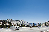 Parking lot and viewing area at Olmsted point, Yosemite national park, California